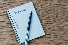 To do list, checklist of things or tasks to complete for life habit, business project plan concept, black pen on notepad with. Handwriting headline To do list stock photos