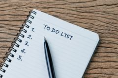 To do list, checklist of things or tasks to complete for life habit, business project plan concept, black pen on notepad with. Handwriting headline To do list stock images