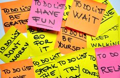 To do list concept. With a message: have an attitude, have fun, wait, don't worry, be yourself, be grateful, relax stock photos