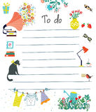 To do list - cute design with flowers royalty free illustration