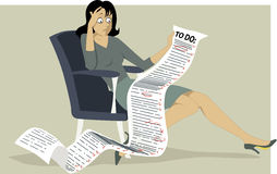 To-do list. Frustrated woman sitting in a chair, holding a comically long to do list, Vector illustration, no transparencies, EPS 8 vector illustration