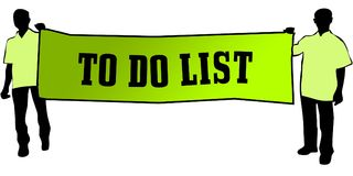 TO DO LIST on a green banner carried by two men. Illustration graphic Royalty Free Stock Image