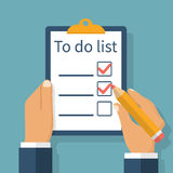 To do list in hand Royalty Free Stock Images