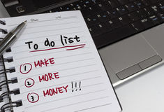 To do List. Handwritten to do concept list on notebook stock photo