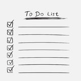To do list icon with hand drawn text. Checklist, task list vecto Royalty Free Stock Photography