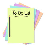To do list. Illustration of To Do list with pencil and colourful paper Stock Image