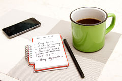 To do list. Meanwhile having a coffee Stock Image
