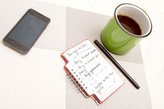 To do list. Meanwhile having a coffee Royalty Free Stock Image