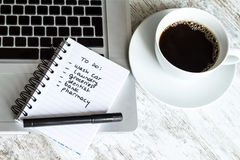 To do list. Meanwhile having a coffee Royalty Free Stock Photography