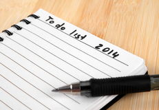 To do list. For 2014 new year Stock Photography