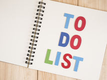 To do list on notebook 14 Stock Photography