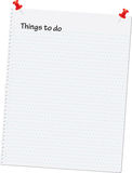 To do list. Notebook page vector illustration with things to do at the top Stock Photography
