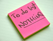 To do list : nothing. Laziness concept. With postit on a white background stock photography