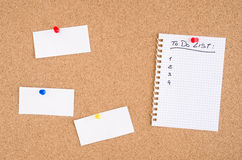 To Do List and Notices on a Pinboard Stock Images
