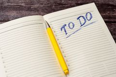 To do list in opened business notebook stock images