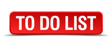 To do list red 3d square button Stock Image