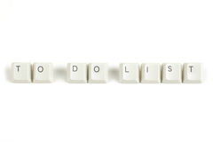 To do list from scattered keyboard keys on white Royalty Free Stock Photo