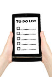 To do list on screen Stock Image