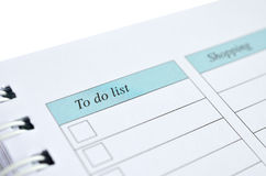 To do list and shopping on a notebook Royalty Free Stock Photography