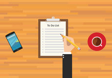 To do list. Smartphone work and coffee Royalty Free Stock Photography