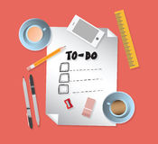 To do list with stationery s Royalty Free Stock Photos