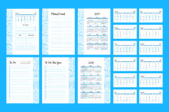 To do list Template 2017. Set of Calendar 2017 Daily Planner Template with Pages 2017 and 2018 years. To Do List Paper A4 Format. Business Style Vector Royalty Free Illustration