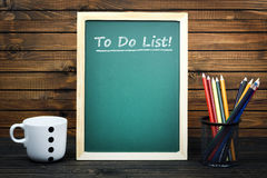 To do list text on school board stock photos