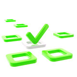 To do list, tick in green check box Stock Photo