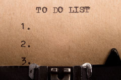 To do list typed on the typewriter Stock Photography
