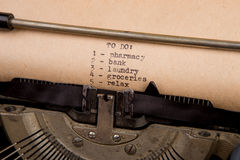 To do list typed on the typewriter Royalty Free Stock Photos