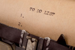 To do list typed on the typewriter Royalty Free Stock Images