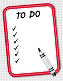 To Do List White Board & Marker. Copy space for your own list on this red frame dry erase white board with marker pen for home, office or school. EPS organized Royalty Free Stock Images