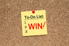 To do list win. Note pinned on cork noticeboard Stock Images