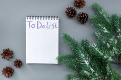 To do list for winter shopping at notebook near spruce branch and pinecones on grey background top view mockup Stock Photography