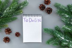 To do list for winter shopping at notebook near spruce branch and pinecones on grey background top view mockup Royalty Free Stock Images