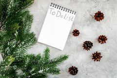 To do list for winter shopping at notebook near spruce branch and pinecones on grey stone background top view Stock Images