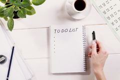 To do list written in a notebook royalty free stock photography