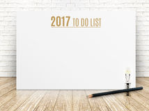 2017 To do list year text on white paper poster with black penci Royalty Free Stock Image