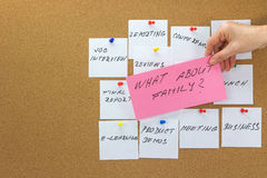 To-do tasks with inscription What about family in the foreground Royalty Free Stock Image