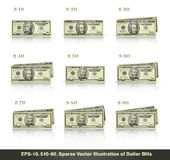 10 to 90 Dollars. Sparse vector illustration of dollar bills presented in stacks of 10 to 90 dollars. EPS-10, all icons, signs and texts except the value numbers Royalty Free Stock Image