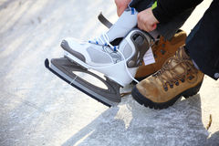 To dress skate ice skating outdoors winter Stock Image