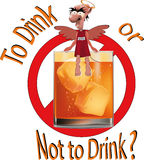 To drink or not to drink ?. Drink alcohol cartoon demon humor ice scotch devil Royalty Free Stock Images