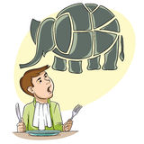 To eat an elephant Royalty Free Stock Photo