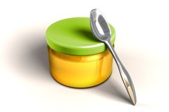 To eat or not to eat!. Full honey glass jar with metal spoon royalty free illustration