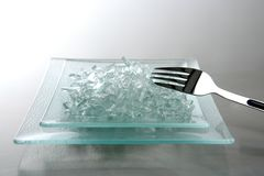 To eat today we have broken glass. To eat today menu, we have our special broken glass in a dish royalty free stock photos