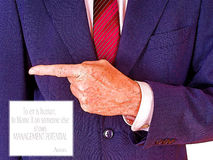 To err is human. Businessman pointing - blame, management concept. Office or business humour,humor. Note - filtered image Royalty Free Stock Photos