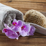 To exfoliate and clean with softness at home spa Royalty Free Stock Photo