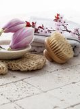 To exfoliate with harmony and femininity. Back brush, loofah glove and cotton towel with Spring flowers, magnolia and cherry blossoms on pure mineral limestone Stock Images