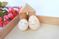 To fall in love for a lifetime. Two creative egg, Xiangyixiangwei, be deeply attached to each other, the common life of life Stock Images