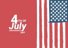 4to feliz de la tarjeta de felicitaci?n del D?a de la Independencia de julio los E.E.U.U. con agitar dise?o americano del texto d ilustración del vector
